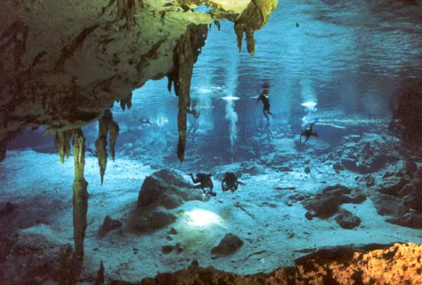 Dos Ojos Cenote cavern cave Entrance Riviera Maya just 40 minutes from playa